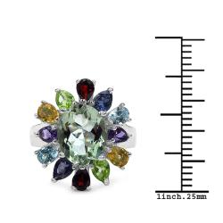 Malaika Sterling Silver Multi Gemstone Ring - Thumbnail 2