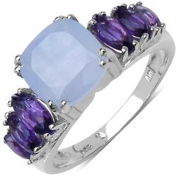 Malaika Sterling Silver 2.86ct TDW Blue Chalcedony and Amethyst Ring