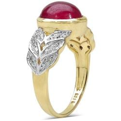 Malaika Yellow Gold Overlay Sterling Silver 5.11ct TDW Ruby and White Topaz Ring - Thumbnail 1