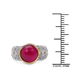 Malaika Yellow Gold Overlay Sterling Silver 5.11ct TDW Ruby and White Topaz Ring - Thumbnail 2