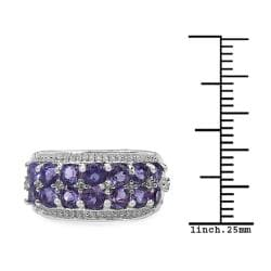 Malaika Sterling Silver 1.44ct TDW Amethyst and White Topaz Ring