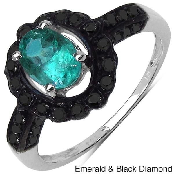 Malaika Silver Emerald/ Black Diamond or Opal/ White Topaz Ring