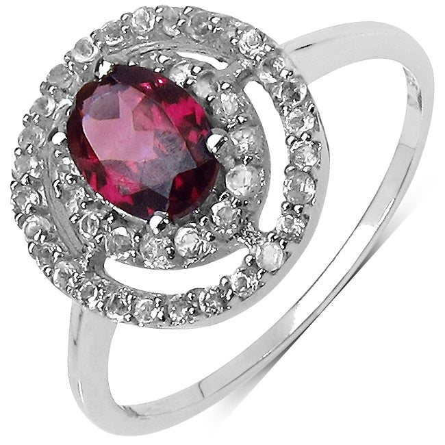 Malaika Sterling Silver 1.93ct TDW Rhodolite and White Topaz Ring