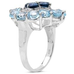 Malaika Sterling Silver 6.94ct TDW Blue Topaz and White Topaz Ring - Thumbnail 1