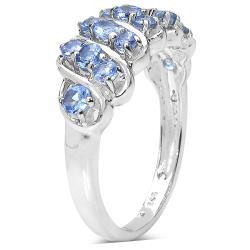 Malaika Sterling Silver 0.84ct TDW Tanzanite Ring - Thumbnail 1