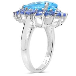 Malaika Sterling Silver 7.74ct TDW Blue Topaz and Tanzanite Ring