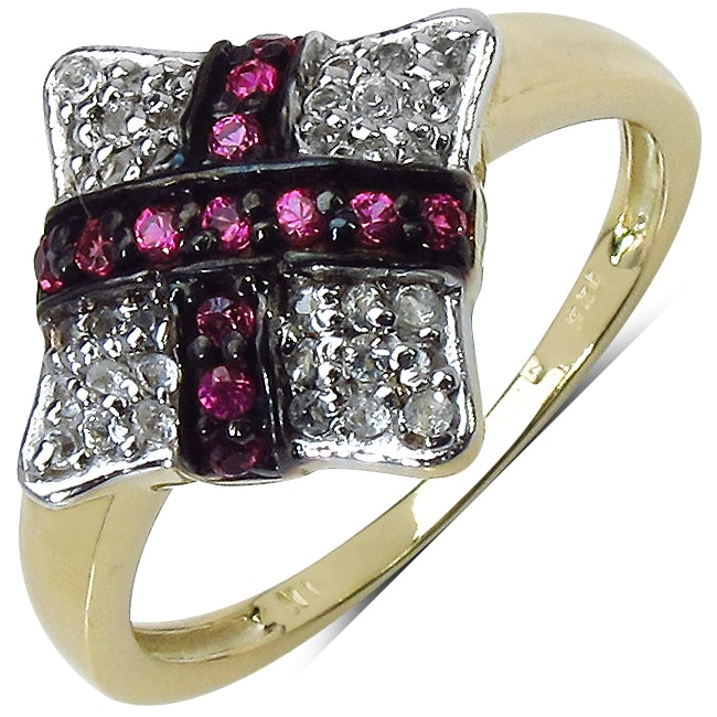 Malaika Yellow Gold Overlay Sterling SIlver 0.34ct TDW Ruby and White Topaz Ring