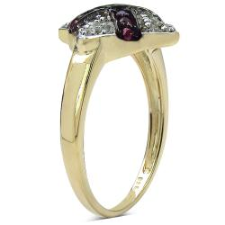 Malaika Yellow Gold Overlay Sterling SIlver 0.34ct TDW Ruby and White Topaz Ring - Thumbnail 1