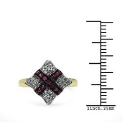 Malaika Yellow Gold Overlay Sterling SIlver 0.34ct TDW Ruby and White Topaz Ring - Thumbnail 2