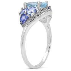 Malaika Sterling Silver 2.02ct TDW Aquamarine and Tanzanite Ring - Thumbnail 1