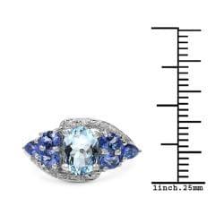 Malaika Sterling Silver 2.02ct TDW Aquamarine and Tanzanite Ring - Thumbnail 2