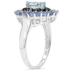 Malaika Sterling Silver 1.77ct TDW Aquamarine, Black Spinel and Tanzanite Ring