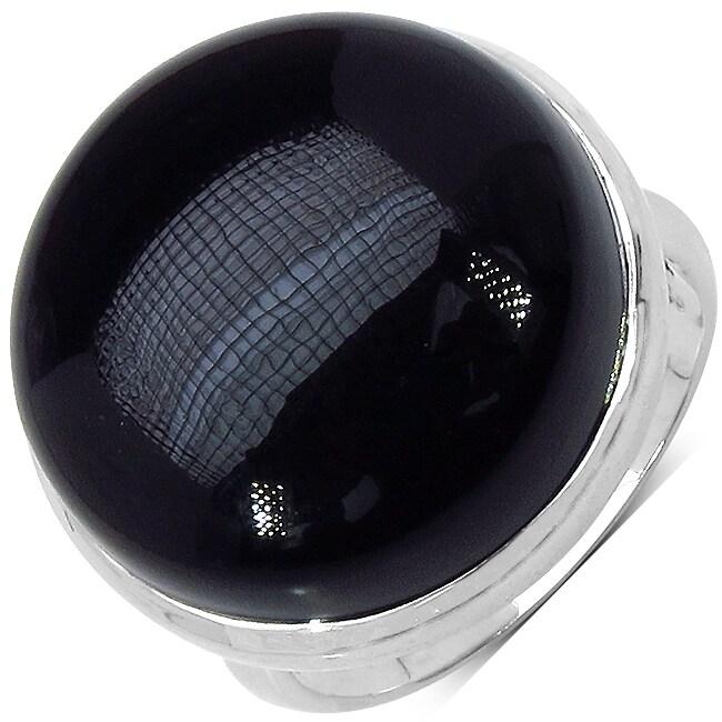 Malaika Sterling Silver 12.20ct TDW Black Onyx Ring