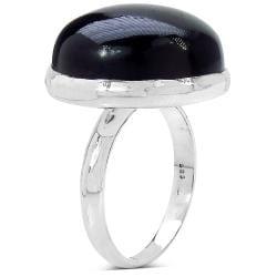 Malaika Sterling Silver 12.20ct TDW Black Onyx Ring - Thumbnail 1