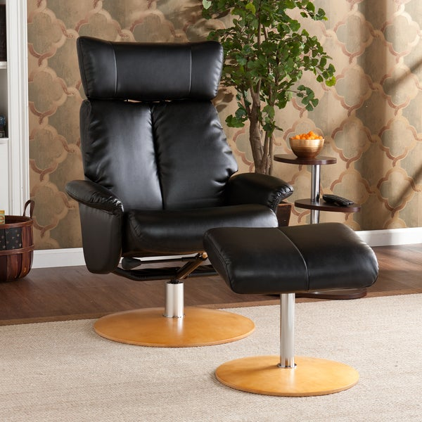 Harper Blvd Cardwell Black Leather Recliner/ Ottoman