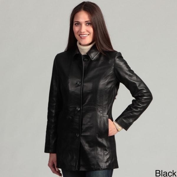 Women's Collezione Italia Women's Plus Size Leather Coat