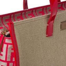 Fendi Strawberry/ Tan Linen Tote Bag - Thumbnail 2