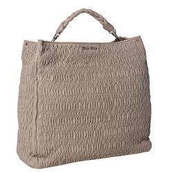 Miu Miu 'Cloquet Nappa' Taupe Leather Tote Bag - Thumbnail 1