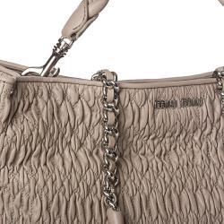 Miu Miu 'Cloquet Nappa' Taupe Leather Tote Bag - Thumbnail 2