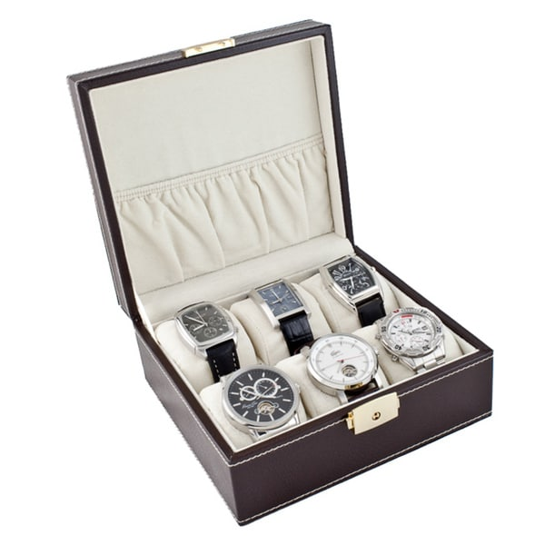 Compact Brown Six Watch Case Box with Soft Adjustable Pillows