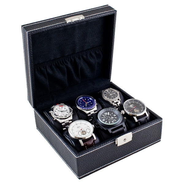 Shop caddy bay collection compact black six watch case box with soft adjustable pillows free for Watches box