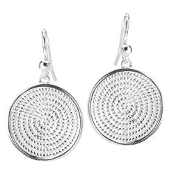 Sterling Silver Rope Round Earrings