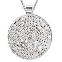 Avanti Sterling Silver Rope Round Pendant Necklace