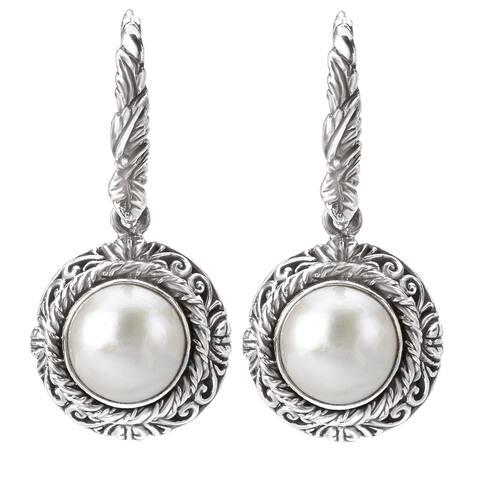 Avanti Sterling Silver White Mabe Pearl Earrings