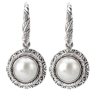 Avanti Sterling Silver White Mabe Pearl Earrings