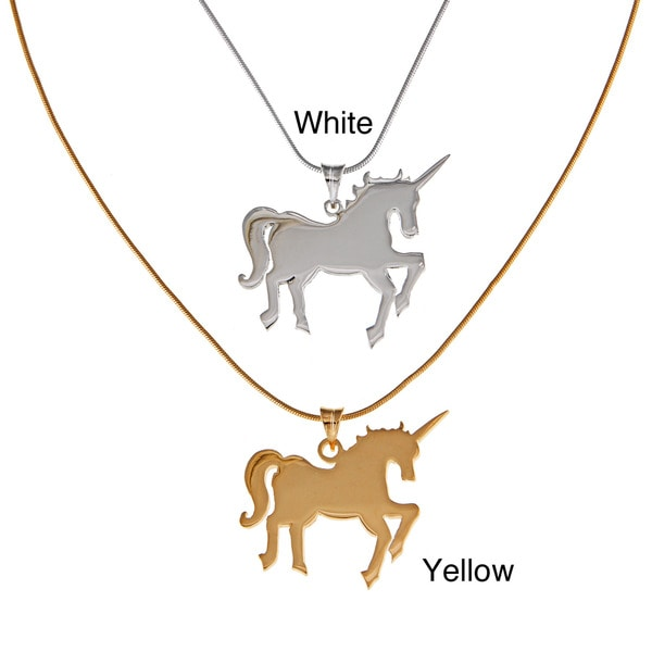 White Trash Charms Sterling Silver Medium Unicorn Necklace