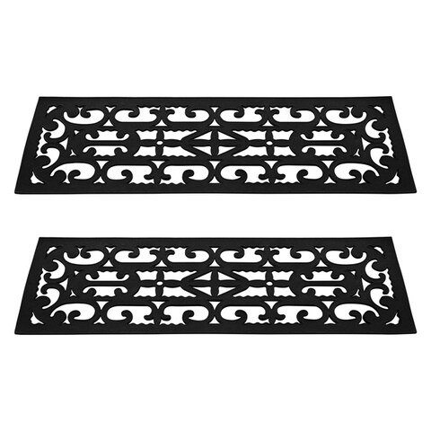 "Non-Slip Stair Mats with Traction Control Grip and Ornate Design For Indoor/Outdoor Use, Set of 2 by Pure Garden - 9'4"" x 28'5"""