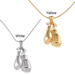 White Trash Charms Sterling Silver Medium Boxing Gloves Necklace
