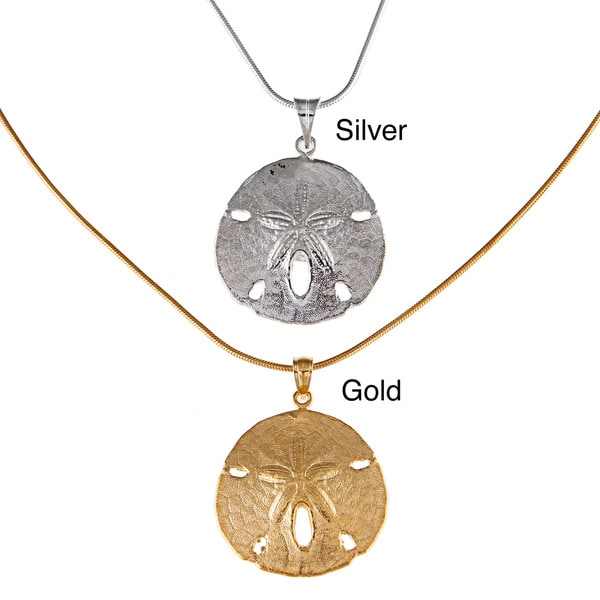 White Trash Charms Sterling Silver Medium Sand Dollar Necklace