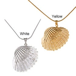 White Trash Charms Sterling Silver Medium Seashell Necklace