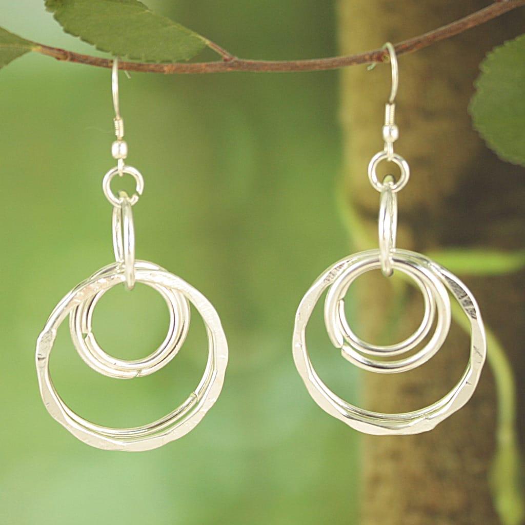 Handmade Silver Plated Multiple Circles Dangle Earrings (India)