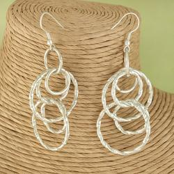Handmade Silver Plated Interlocking Circles Dangle Earrings (India)