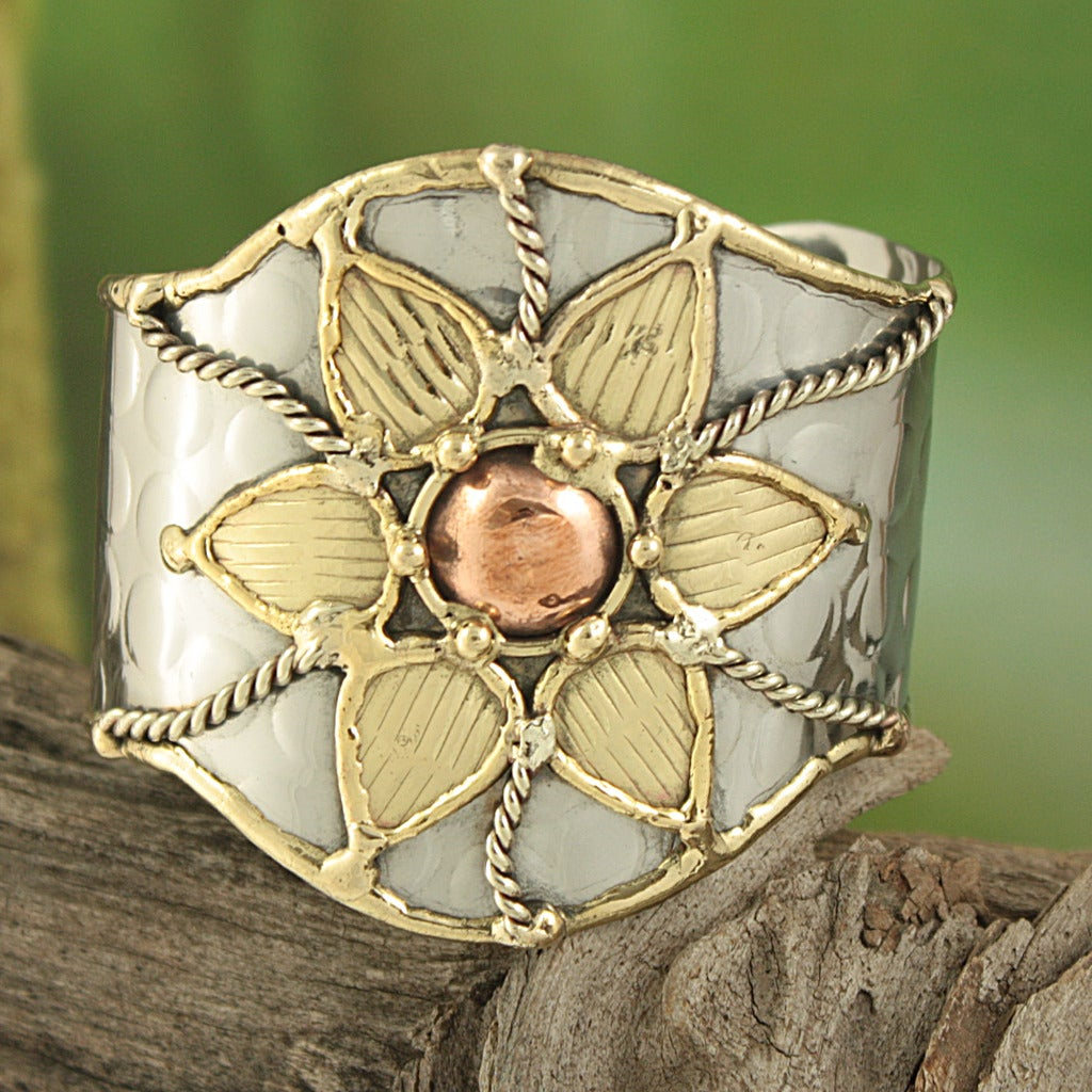 Handcrafted Wide Brass Copper Floral Cuff Bracelet (India) - Thumbnail 0