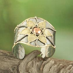 Handcrafted Wide Brass Copper Floral Cuff Bracelet (India) - Thumbnail 1