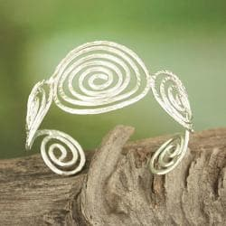 Handcrafted Silver Plated Hammered Swirls Cuff Bracelet (India)