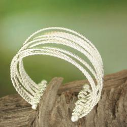 Handcrafted Silver Plated Textured Open Cuff Bracelet (India) - Thumbnail 1