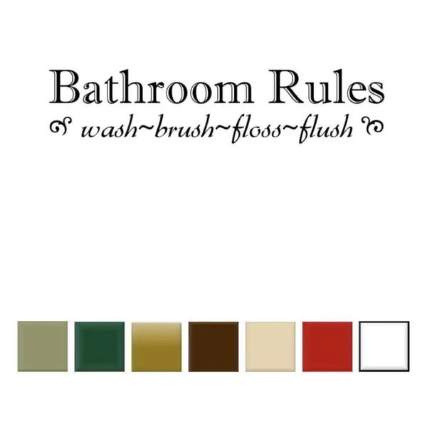 Bathroom Rules' Vinyl Wall Art Decal. Opens flyout.