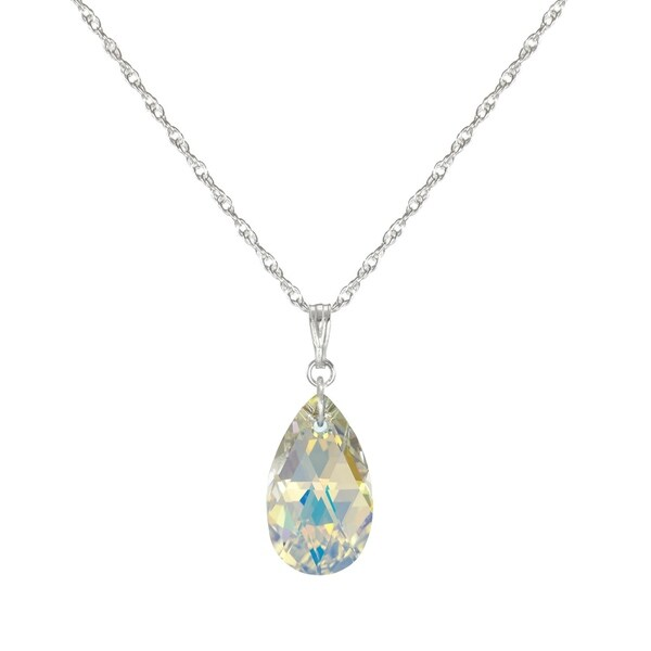 Handmade Jewelry by Dawn Small Aurora Borealis Crystal Pear Sterling Silver Necklace (USA). Opens flyout.
