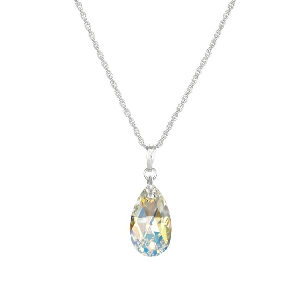 Handmade Jewelry by Dawn Small Aurora Borealis Crystal Pear Sterling Silver Necklace (USA)