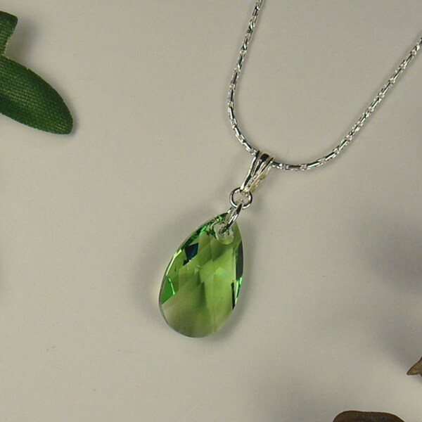 Jewelry by Dawn Green Crystal Pear Sterling Silver Necklace