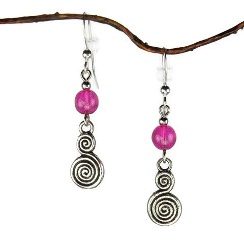 Handmade Jewelry by Dawn Hot Pink With Double Swirl Drop Earrings (USA)