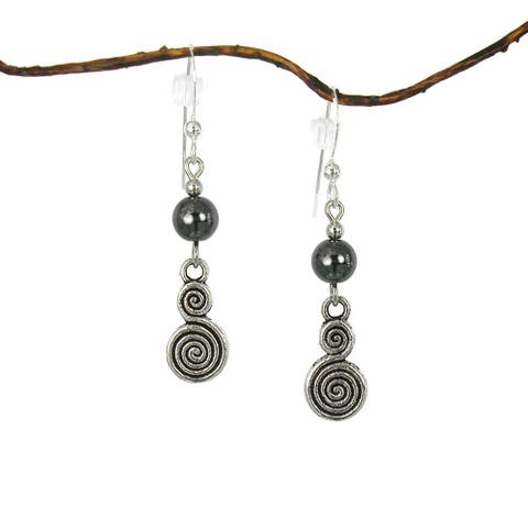 Handmade Jewelry by Dawn Hematite with Double Swirl Drop Earrings (USA)