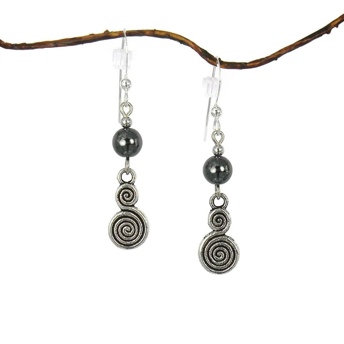 Jewelry by Dawn Hematite With Double Swirl Drop Earrings ...