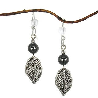 Handmade Jewelry by Dawn Hematite Bead with Silver Pewter Leaf Earrings