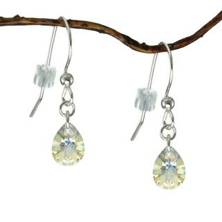 Handmade Jewelry by Dawn Crystal Small Pear Sterling Silver Earrings (USA)