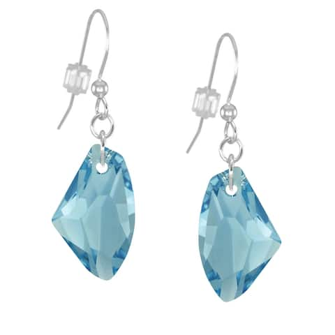 Handmade Jewelry by Dawn Aquamarine Crystal Galactic Small or Large Sterling Silver Earrings (USA)